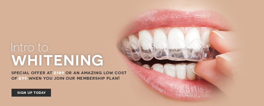 Intro to tooth whitening. Special offer. Sign up today.